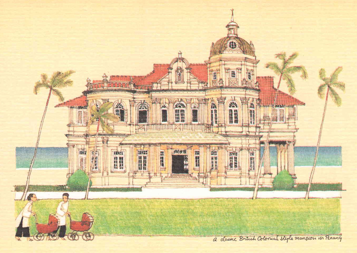 A Classic British colonial Style Mansion in Penang British colonial Malaya architecture painting art architect malaysia