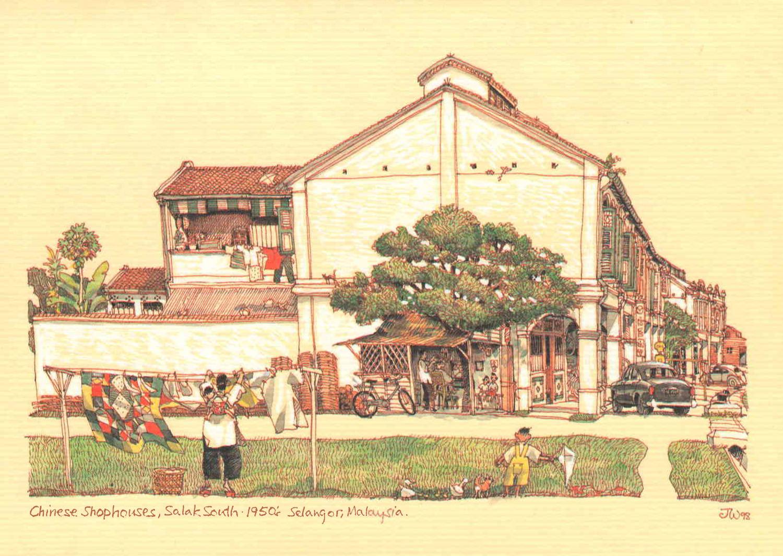 Chinese Shophouses, Salak Sentuh, 1950, Selangor, Malaysia British colonial Malaya architecture painting art architect malaysia