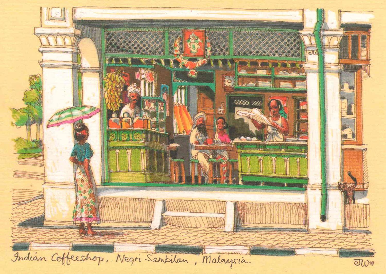Indian Coffeeshop, Negeri Sembilan, Malaysia British colonial Malaya architecture painting art architect malaysia