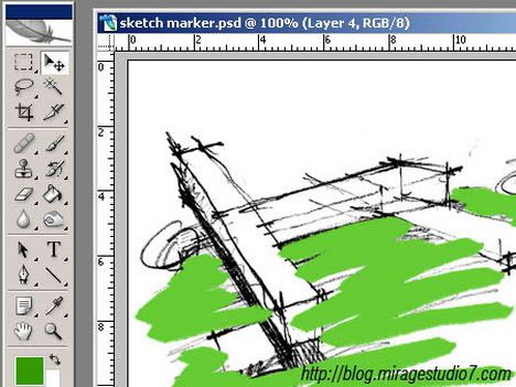 photoshop digital marker coloring autocad technique tutorial