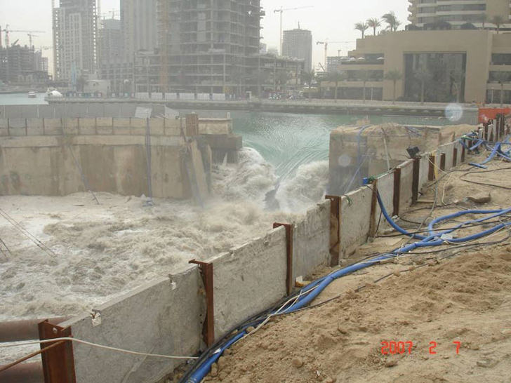 dubai construction dam failure retaining wall collapse
