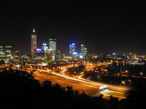 perth city kings park night view