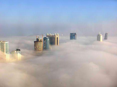 dubai fog mist city beautiful aerial view
