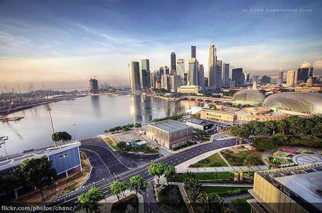 marina bay singapore photo birdeye view city