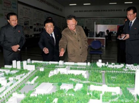 Kim Jong-il Looking And Pointing At The New Concentration Camp