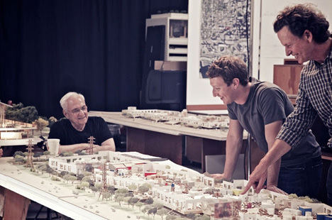 Mark Zukerberg With Frank Gehry On Facebook New Campus