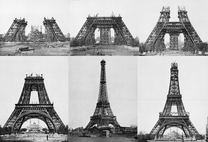 eiffel tower under construction photos