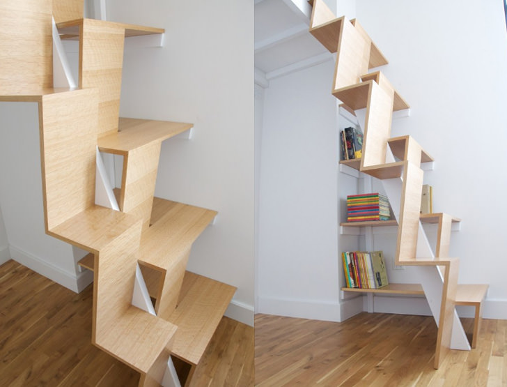 loft bed stairs zig zag