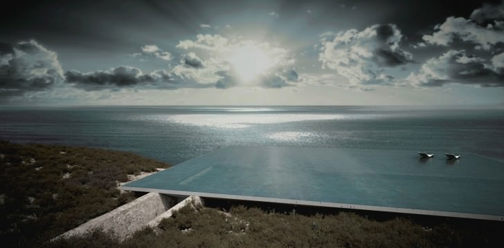 mirage residence architecture small house swimming pool residential design island tiny architect beautiful sunset