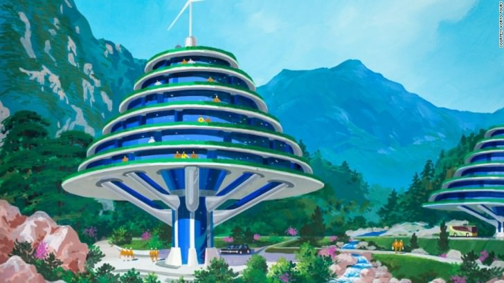 Tapping in to a similarly environmental  inspiration, this hotel envisioned for the Mount Kumgang area near the Korean DMZ has been designed in the shape of a tree. North Korean's Architect and Designer's Vision Of The Future