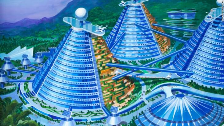 A collection of futuristic cone shaped buildings designed to appear like a steel and glass mountain range surge out of the countryside. North Korean's Architect and Designer's Vision Of The Future