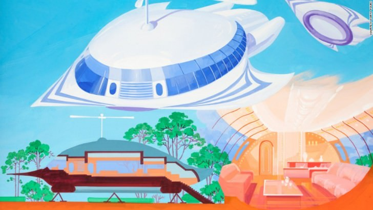 Exhibiting more blue-sky thinking, this image depicts a flying house that can double up as a hovercraft. North Korean's Architect and Designer's Vision Of The Future
