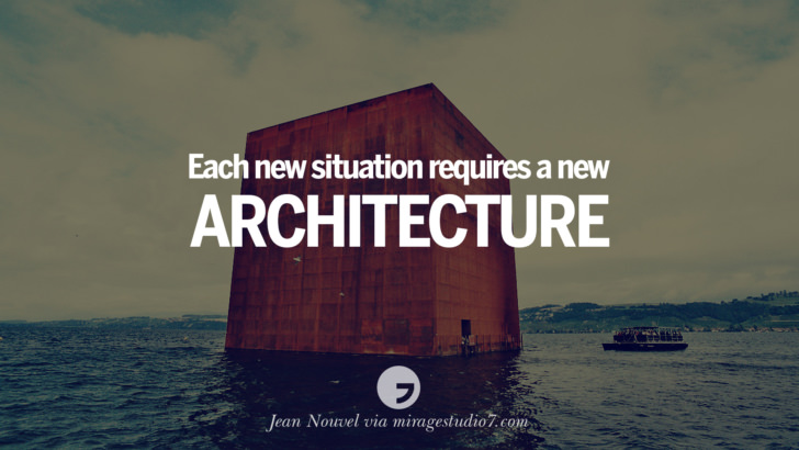 Each new situation requires a new architecture. - Jean Nouvel Architecture Quotes by Famous Architects instagram pinterest twitter facebook linkedin Interior Designers art design find an architect cost fees landscape