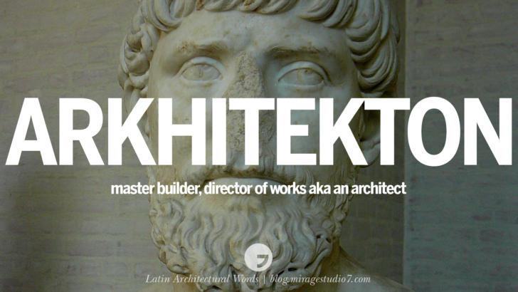 Arkhitekton - master builder, director of works, also known as an architect. Apollodorus (image above) of Damascus is a Greek Architect and Engineer. If you're wondering why the noses are missing in most Greek and Egyptian sculptures, they are removed by early Christian and Muslims due to their religion believes. Beautiful Latin and Ancient Greek Architecture Words instagram facebook twitter pinterest