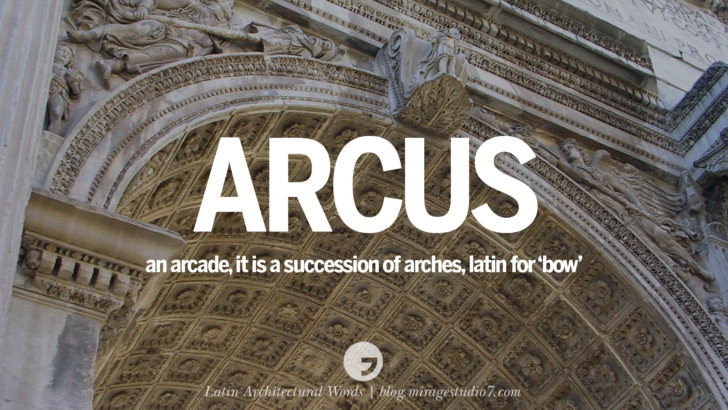 Arcus - an arcade, it is a succession of arches, latin word for 'bow'. Beautiful Latin and Ancient Greek Architecture Words instagram facebook twitter pinterest