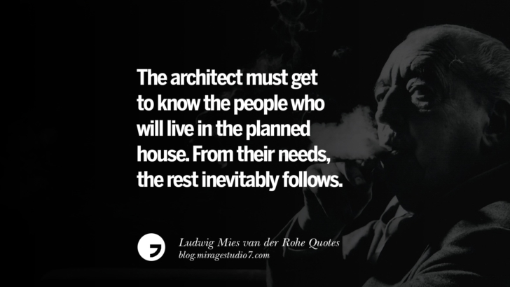 The architect must get to know the people who will live in the planned house. From their needs, the rest inevitably follows. Ludwig Mies van der Rohe Quotes On Modern Architecture And International Style